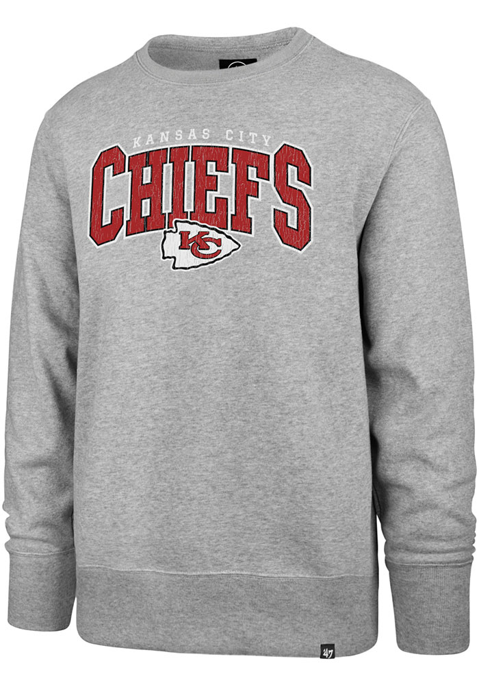 47 Kansas City Chiefs Mens Grey Headline Long Sleeve Crew Sweatshirt - Image 1