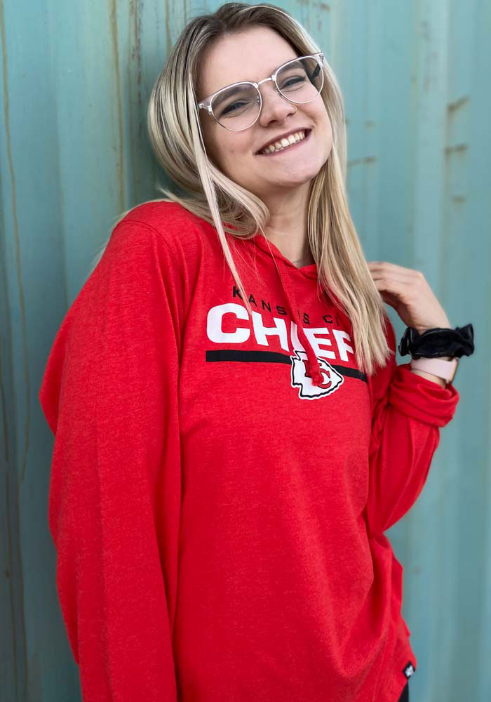 47 Kansas City Chiefs Mens Red End Line Long Sleeve Hoodie - Image 3