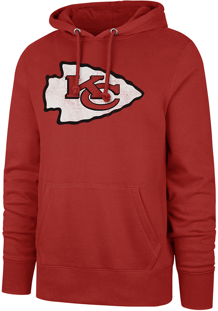 '47 Kansas City Chiefs Mens Red Distressed Logo Long Sleeve Hoodie - Image 1