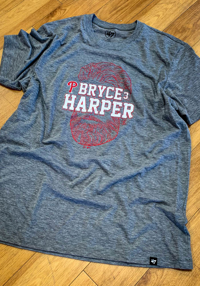 Bryce Harper Philadelphia Phillies Grey Bryce Face Short Sleeve Fashion Player T Shirt - Image 1