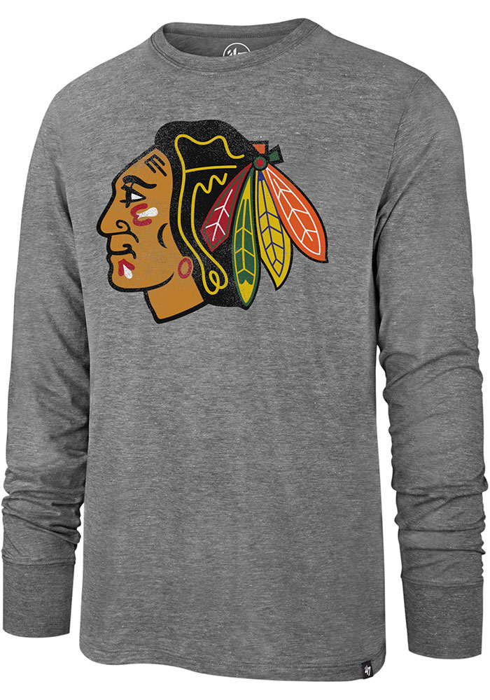 '47 Chicago Blackhawks Grey Imprint Match Long Sleeve Fashion T Shirt - Image 1
