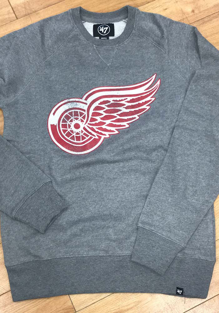47 Detroit Red Wings Mens Grey Imprint Match Long Sleeve Fashion Sweatshirt - Image 3