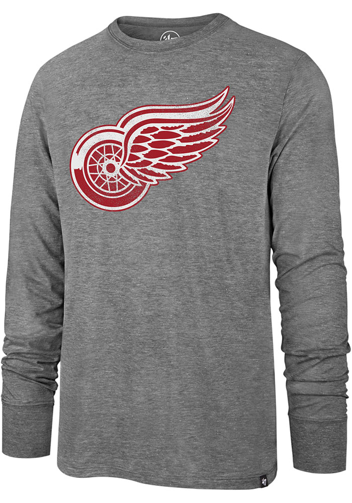 47 Detroit Red Wings Grey Imprint Match Long Sleeve Fashion T Shirt - Image 1