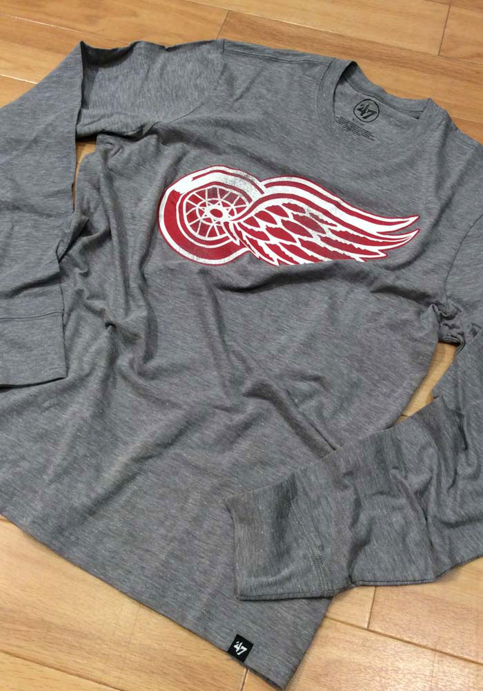 47 Detroit Red Wings Grey Imprint Match Long Sleeve Fashion T Shirt - Image 3