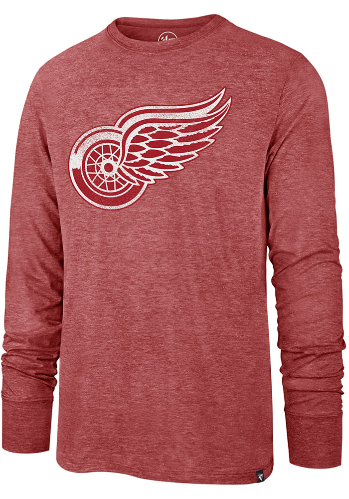 47 Detroit Red Wings Red Imprint Match Long Sleeve Fashion T Shirt - Image 1