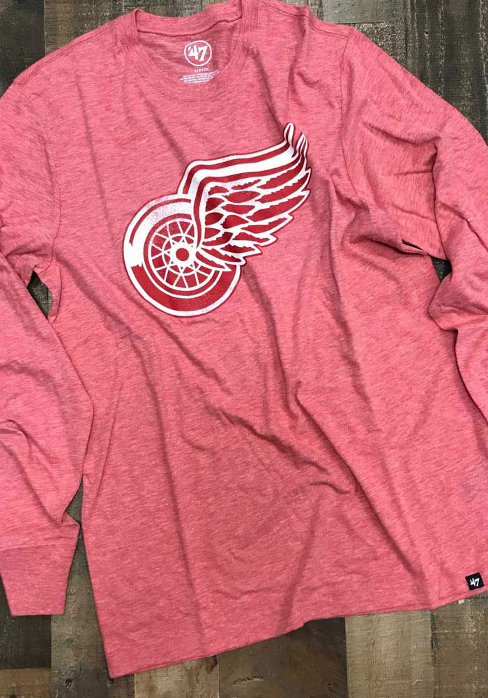 47 Detroit Red Wings Red Imprint Match Long Sleeve Fashion T Shirt - Image 3