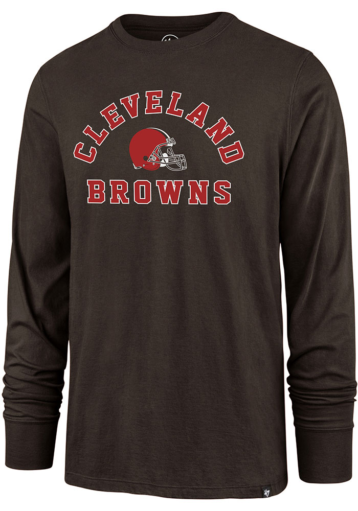 '47 Cleveland Browns Brown Varsity Arch Long Sleeve T Shirt - Image 1