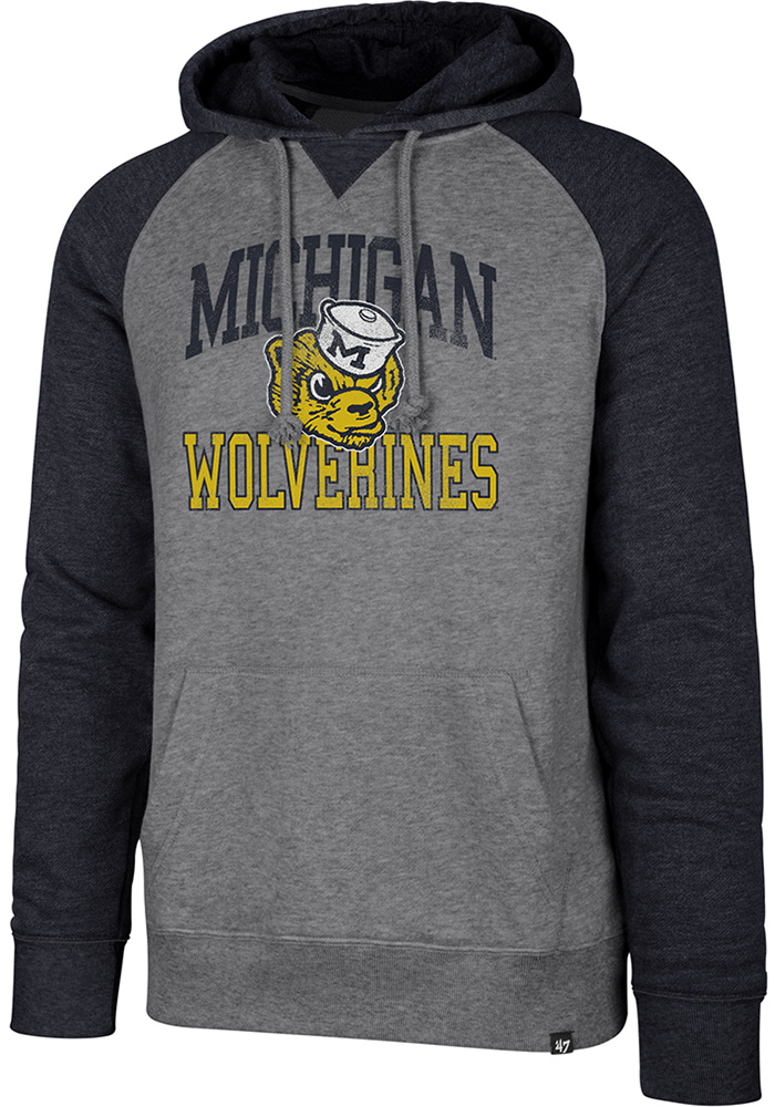 '47 Michigan Wolverines Match Raglan Grey Fashion Hood
