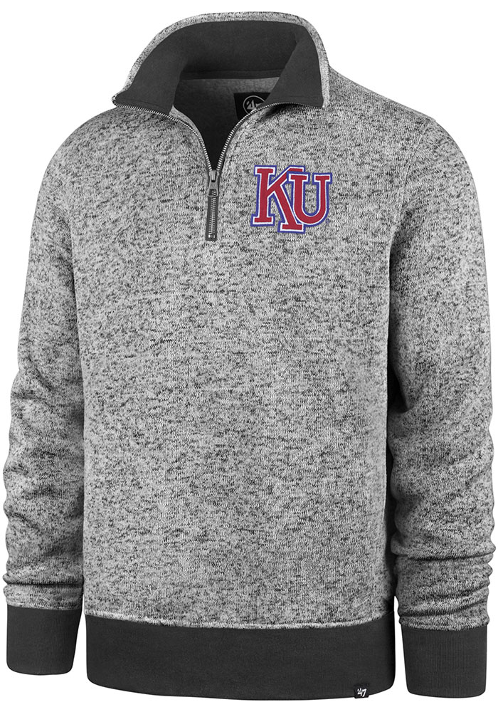 47 Kansas Jayhawks Charcoal Encore Kodiak 1/4 Zip Pullover