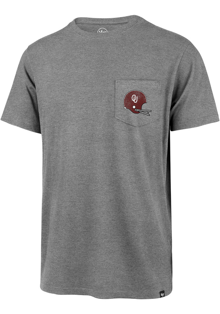 47 Oklahoma Sooners Grey Super Rival Pocket Short Sleeve T Shirt - Image 1