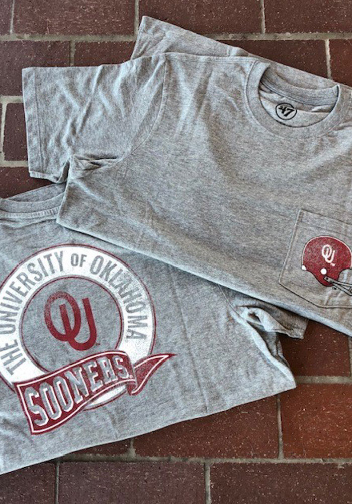 47 Oklahoma Sooners Grey Super Rival Pocket Short Sleeve T Shirt - Image 3