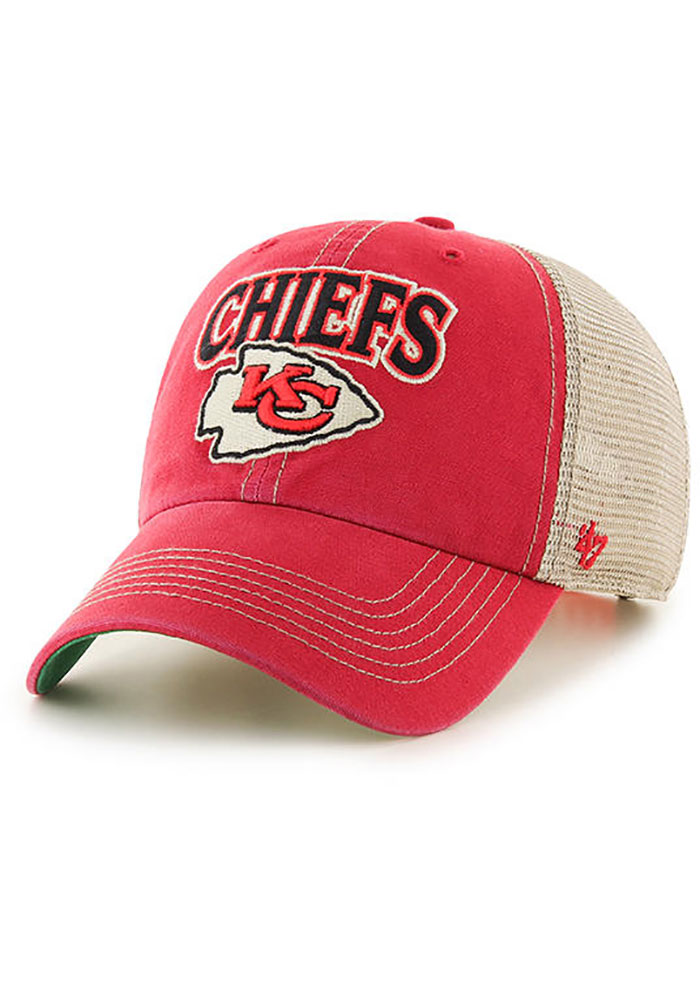 '47 Kansas City Chiefs Mens Red Tuscaloosa 47 Clean Up Adjustable Hat - Image 1