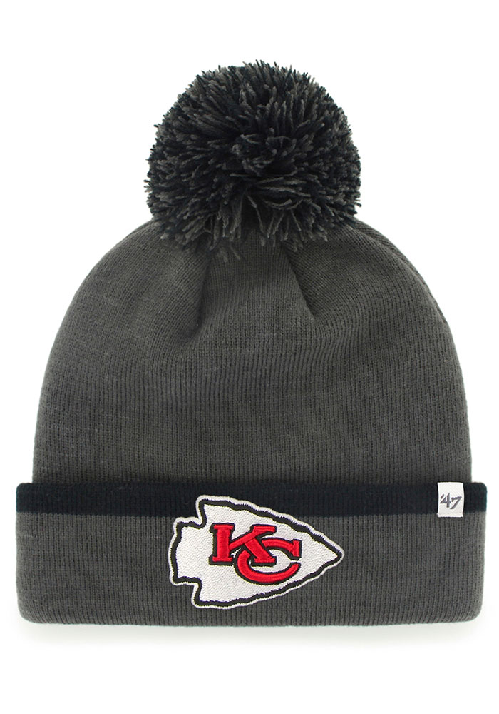 '47 Kansas City Chiefs Grey Baraka Cuff Mens Knit Hat - Image 1