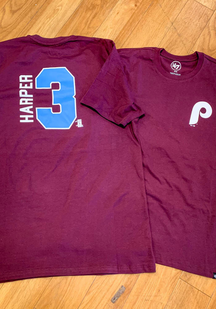 Bryce Harper Philadelphia Phillies Maroon Retro N & N Short Sleeve Player T Shirt - Image 3
