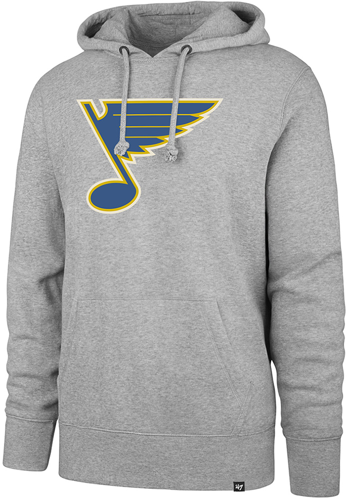 '47 St Louis Blues Mens Grey Imprint Headline Long Sleeve Hoodie - Image 1