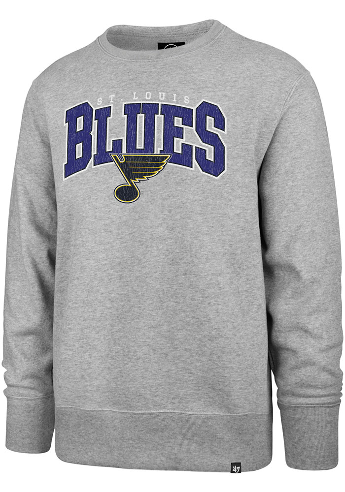 '47 St Louis Blues Mens Grey Var Block Long Sleeve Crew Sweatshirt - Image 1