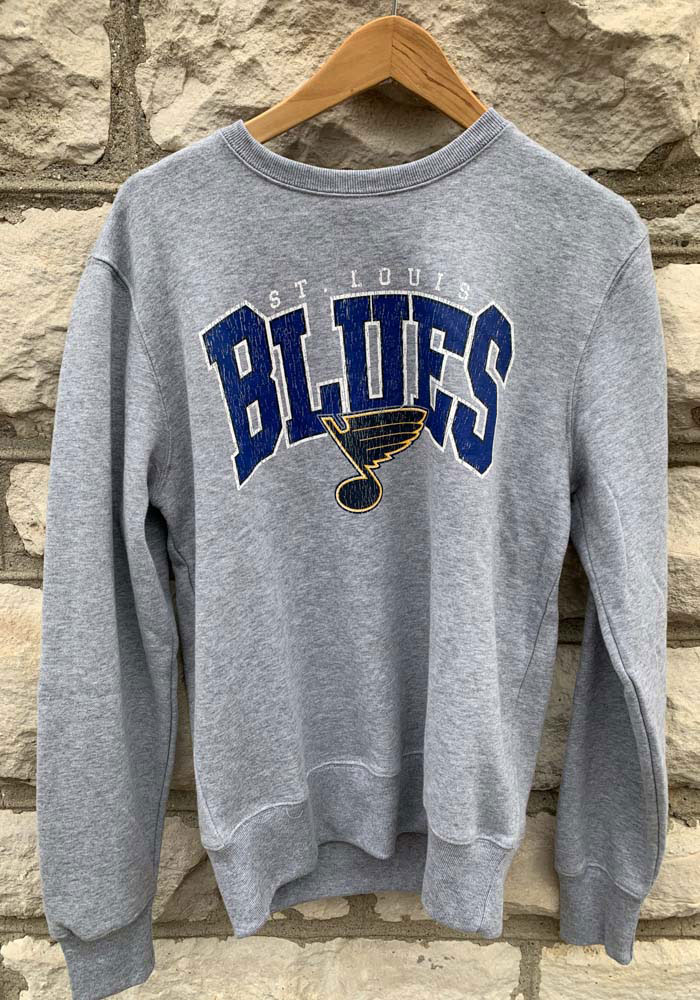 '47 St Louis Blues Mens Grey Var Block Long Sleeve Crew Sweatshirt - Image 3