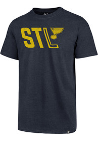 St Louis Blues 47 Block Club T Shirt - Navy Blue
