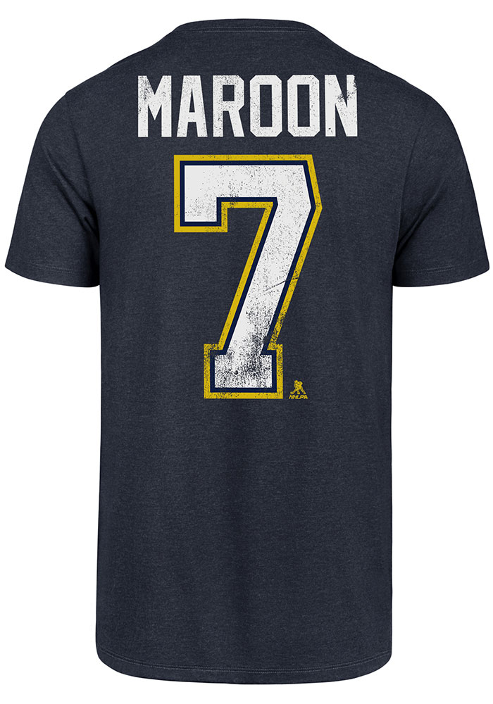 Patrick Maroon St Louis Blues Navy Blue MVP Club Short Sleeve Player T Shirt - Image 1
