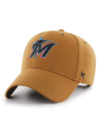 Miami Marlins 47 Carhartt MVP Adjustable Hat - Brown
