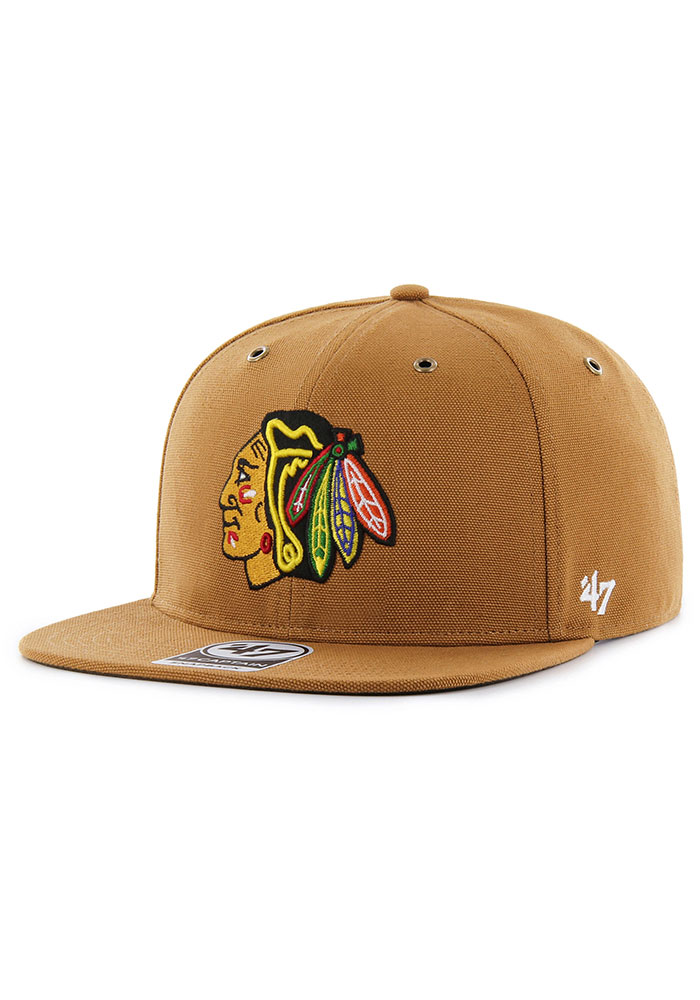 '47 Chicago Blackhawks Brown Carhartt Captain Mens Snapback Hat - Image 1
