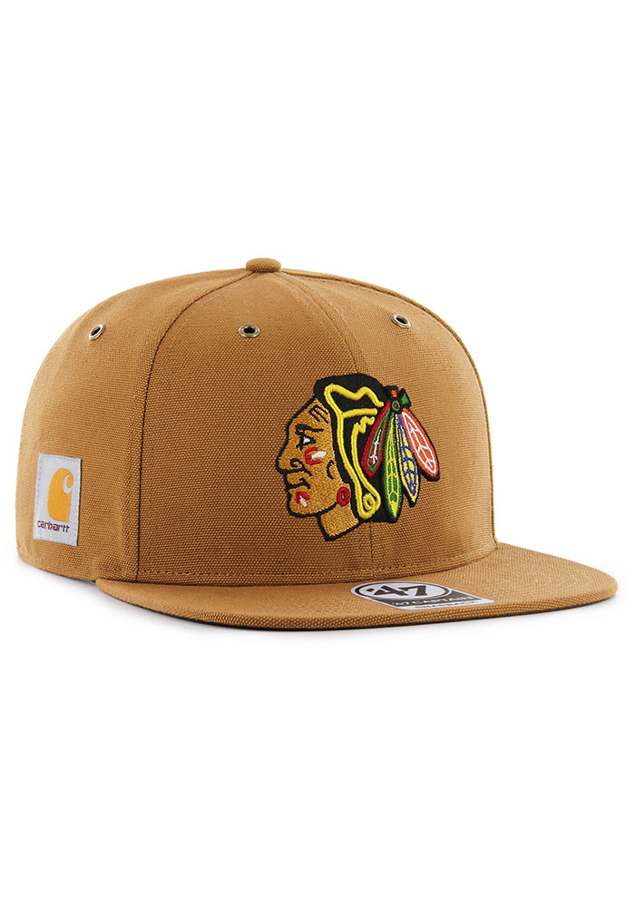 '47 Chicago Blackhawks Brown Carhartt Captain Mens Snapback Hat - Image 3