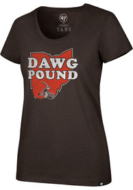 Cleveland Browns Womens 47 Regional Dawg Pound T-Shirt - Brown