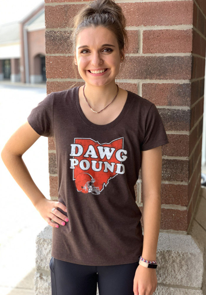 47 Cleveland Browns Womens Brown Regional Dawg Pound Short Sleeve T-Shirt - Image 3