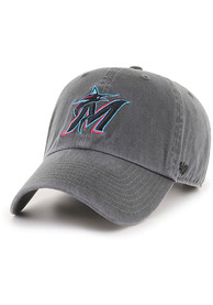 47 Miami Marlins Clean Up Adjustable Hat - Charcoal