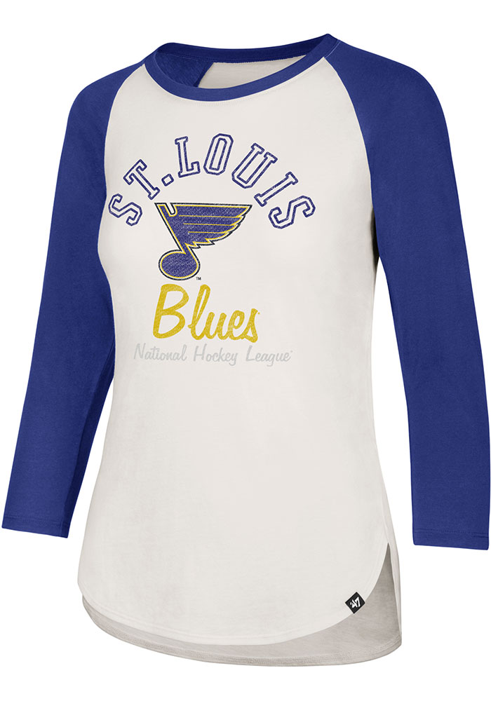 '47 St Louis Blues Womens White Arch Script Splitter LS Tee - Image 1