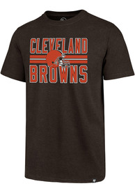 Cleveland Browns 47 Helmet Stripe T Shirt - Brown