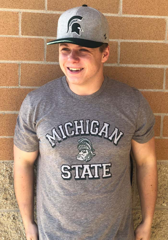 Michigan State Spartans Grey Number One Match Short Sleeve Fashion T Shirt - Image 3