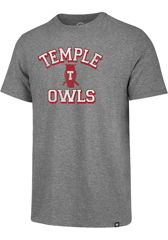 Temple Owls Number One Match Fashion T Shirt - Grey