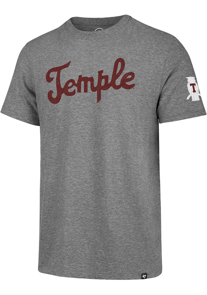 Temple Owls Grey Script Match Short Sleeve Fashion T Shirt - Image 1