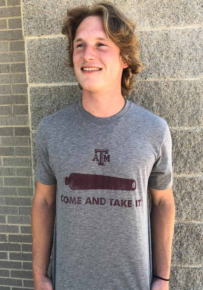 Texas A&M Aggies Grey Come and Take It Match Short Sleeve Fashion T Shirt - Image 3