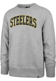 Pittsburgh Steelers 47 Arch Outline Headline Crew Sweatshirt - Grey