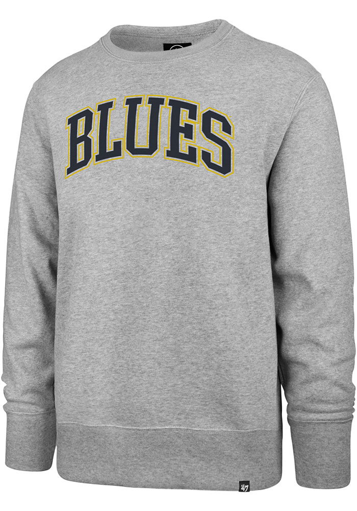 47 St Louis Blues Mens Grey Arch Outline Headline Long Sleeve Crew Sweatshirt - Image 1