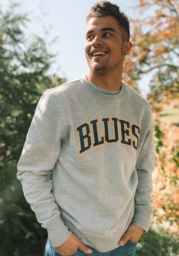 47 St Louis Blues Mens Grey Arch Outline Headline Long Sleeve Crew Sweatshirt - Image 3