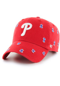 '47 Philadelphia Phillies Womens Red Confetti Clean Up Adjustable Hat