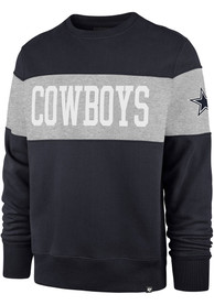 Dallas Cowboys 47 Interstate Crew Fashion Sweatshirt - Navy Blue