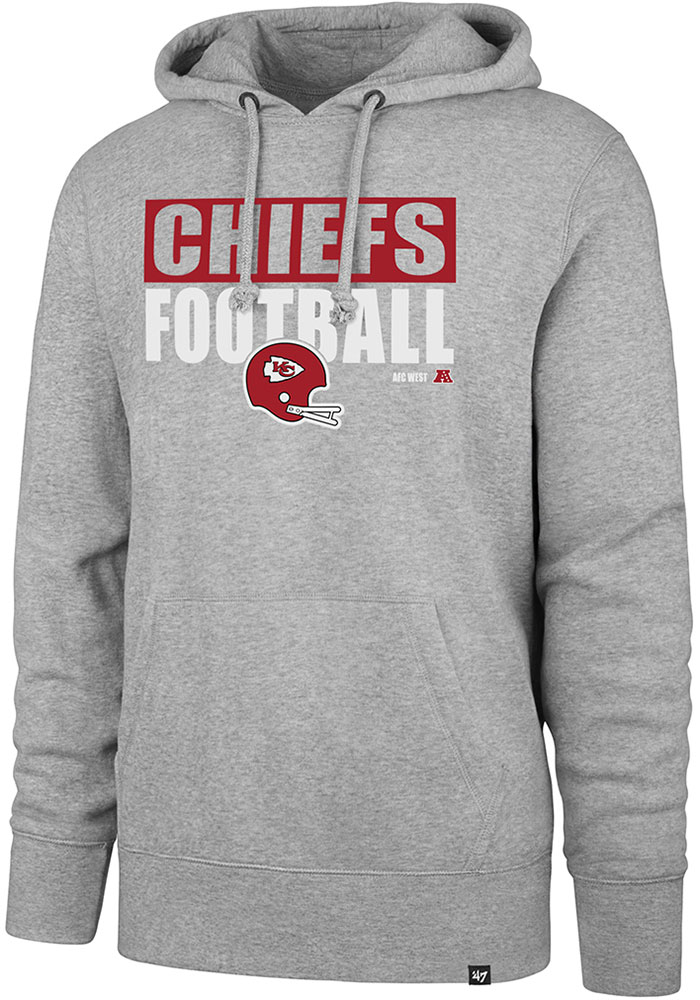 47 Kansas City Chiefs Mens Grey Block Out Long Sleeve Hoodie - Image 1