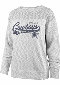 Dallas Cowboys Womens 47 Sport Script White-Out Crew Sweatshirt - Grey