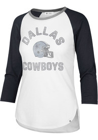 Dallas Cowboys Womens 47 Overturn Frankie Raglan T-Shirt - White