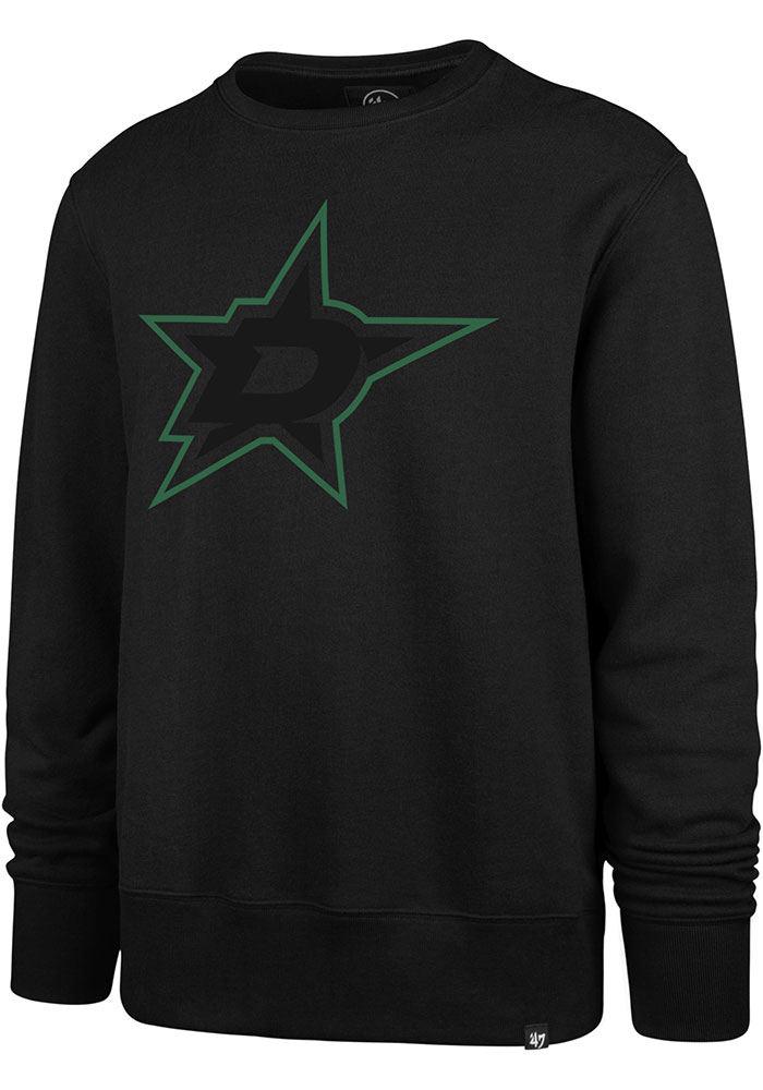 '47 Dallas Stars Mens Black Pop Imprint Headline Long Sleeve Crew Sweatshirt - Image 1