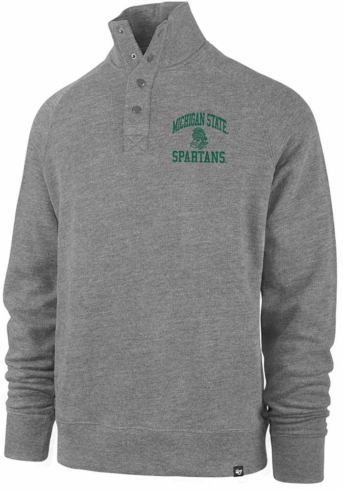 47 Michigan State Spartans Mens Grey Premier Match Long Sleeve 1/4 Zip Pullover - Image 1