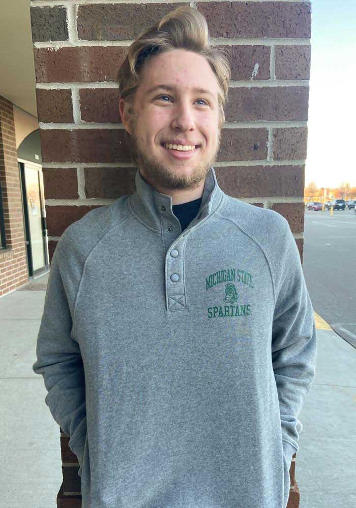 47 Michigan State Spartans Mens Grey Premier Match Long Sleeve 1/4 Zip Pullover - Image 3
