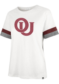 Oklahoma Sooners Womens 47 Frankie Sleeve Stripe T-Shirt - White