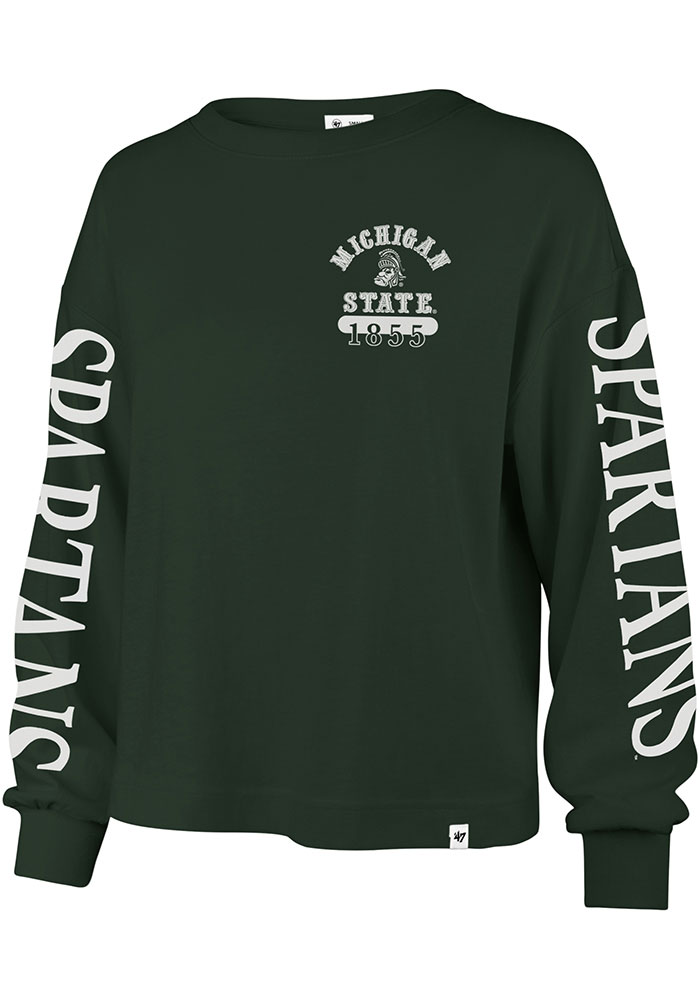 '47 Michigan State Spartans Womens Green Marlow Bell LS Tee - Image 1