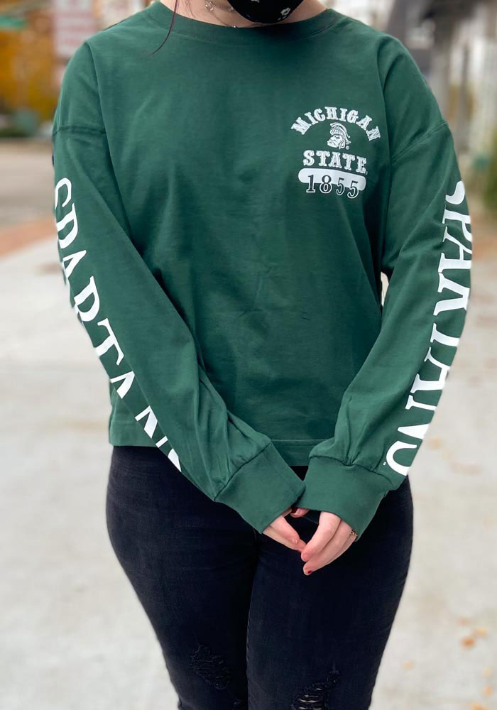 '47 Michigan State Spartans Womens Green Marlow Bell LS Tee - Image 3