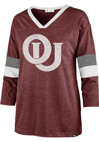'47 Oklahoma Sooners Womens Piper Football Crimson LS Tee